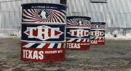 TRC  red white and blue famous  Texas Refinery  barrols