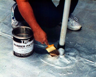 TRC RUBBER PATCH is a crystal clear, single component, brushable elastomeric sealant with rubber-like flexibility. It is specifically designed to patch and repair all types of Rubber Roofs by forming a permanent bond. In addition, it is ideal for many other applications where a sealant is needed as it also can be applied over asphalt, weathered modified bitumen, metal, masonry, marble, ceramic tile, fiberglass, concrete and wood.